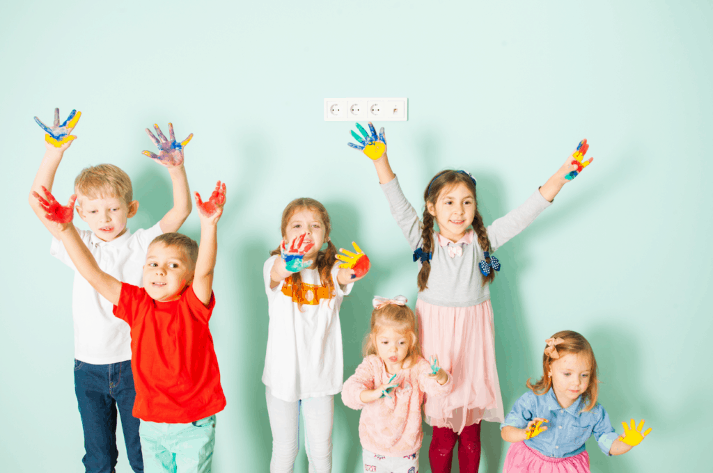 children with paint